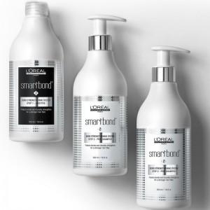 L`Oreal Professionnel SMARTBOND kit tehnic - varianta de salon: 1 aditiv 500ml + 2x500ml pre-sampon pentru serviciul de colorare si decolorare