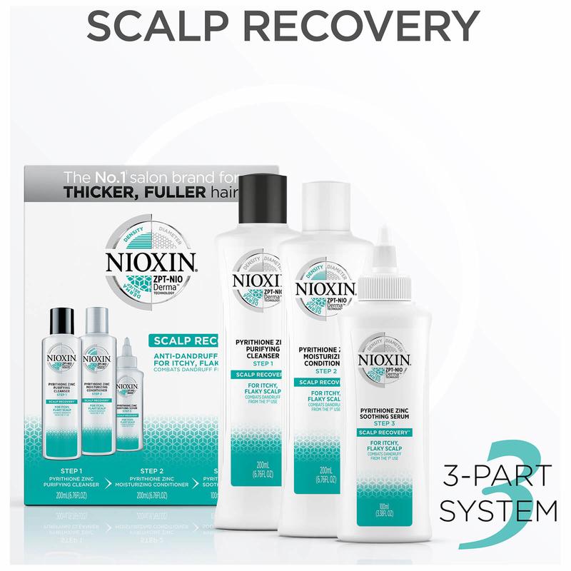 NIOXIN Scalp Recovery 3-Step System Kit - Sistem anti-matreata pentru a trata scalpul cu mancarime si matreata 200mlx200mlx100ml